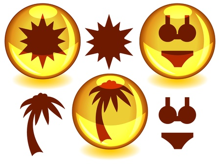 alone in the dark: Sun related icons or symbols in dark brown silhouettes alone or inside a glossy yellow sphere with drop shadow. Illustration