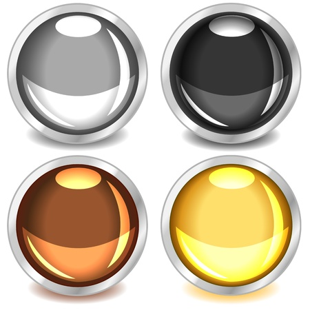 Fun colorful web buttons with drop shadows in grey, black, copper or bronze and gold bound in silver.