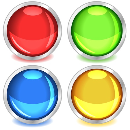 drop shadow: Fun colorful web buttons with drop shadows in red, green, blue and yellow bound in silver. Illustration