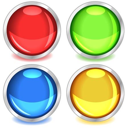Leuke kleurrijke web knoppen met schaduwen in de kleuren rood, groen, blauw en geel gebonden in zilver. Stock Illustratie