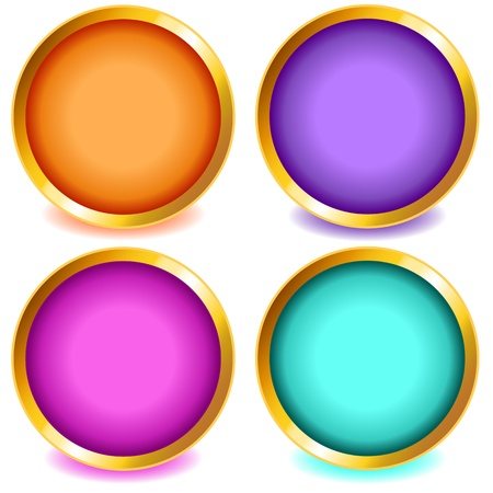 bevel: Fun colorful web buttons with drop shadows in orange, pink, purple, aqua with gold bevel. Illustration