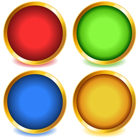 bevel: Fun colorful web buttons with drop shadows in red, green, blue and yellow with gold bevel. Illustration