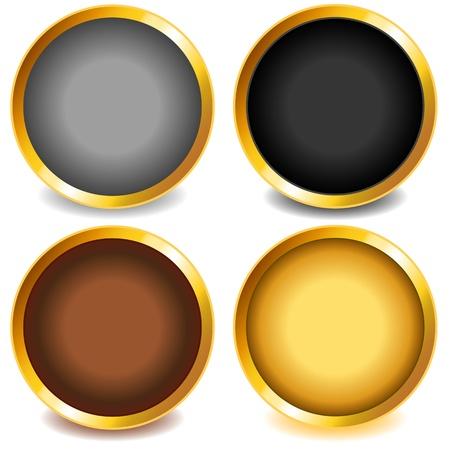 회색, 검정, 구리 또는 청동 및 골드 경사 금에 그림자와 재미 다채로운 웹 단추입니다.