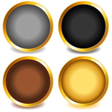 Fun colorful web buttons with drop shadows in grey, black, copper or bronze and gold with gold bevel. Vector