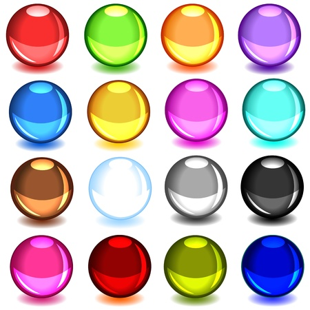 shadow: Fun colorful large collection of shiny glass balls or sphere with their drop shadow, perfect for the web.