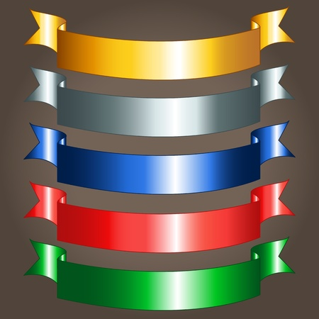 Option of colorful shiny metallic ribbon banners over dark grey background. Ilustração