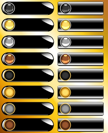 silver: Large collection of glossy shiny buttons and bars in tones of gold, silver, bronze and black over black bar with golden background.