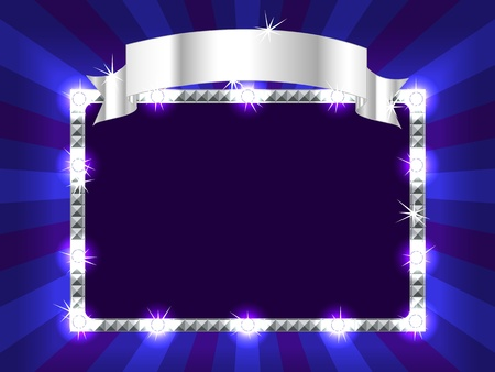 Bright and fun sunburst, stripe and lights billboard or placard with silver ribbon above, ready for an announcement. Vector
