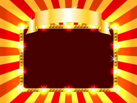 ribbin: Bright and fun sunburst, stripe and lights billboard or placard with gold ribbon above, ready for an announcement.