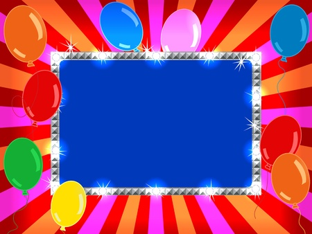 Bright and fun sunburst, stripe and lights billboard or placard with balloons, ready for an announcement. Vector