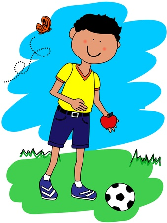 Cute little boy cartoon character going to school with his football or soccer ball and apple