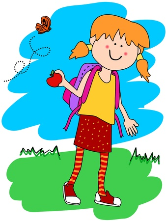 Cute little girl cartoon character going to school with her backpack and apple