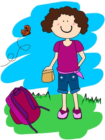 Cute little girl cartoon character going to school with her lunch and back pack