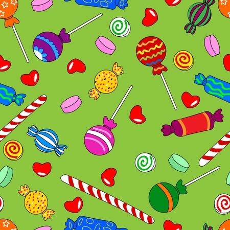 Divertimento seamless fatto di tutti i tipi di caramelle colorate tra cui lecca-lecca. Archivio Fotografico - 11121019