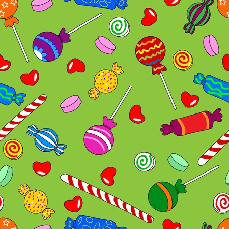 Fun seamless pattern made of all kinds of colorful candy including lollipops. Vector