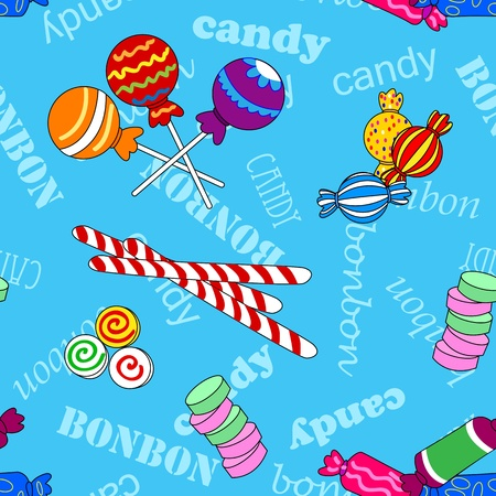 Fun seamless pattern made of all kinds of colorful candy including lollipops over blue background with candy and bonbon text. Vettoriali