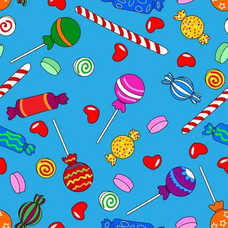 Fun seamless pattern made of all kinds of colorful candy including lollipops over bright blue background Vector