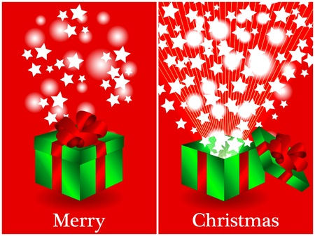 Fun Christmas card with a green gift box with red ribbon closed and then opened with sunburts and stars coming out, merry christmas in text. Vector
