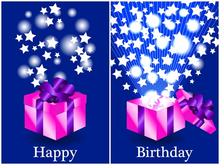 closed ribbon: Fun birthday card with a pink gift box with purple ribbon closed and then opened with sunburts and stars coming out, happy birthday in text. Illustration