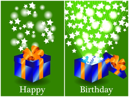 Fun birthday card with a blue gift box with orange ribbon closed and then opened with sunburts and stars coming out, happy birthday in text. Illustration