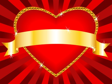 Beautiful love background: bright red heart shape billboard with shiny gold frame and gold ribbon, sparkles and sunbursts, perfect for Valentine's day card or other love celebration. Vector