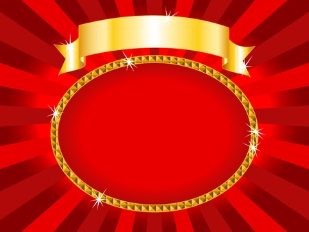 circle shape: Royal red and gold round billboard or placard with gold ribbon and sunburst, ready for an announcement or card.