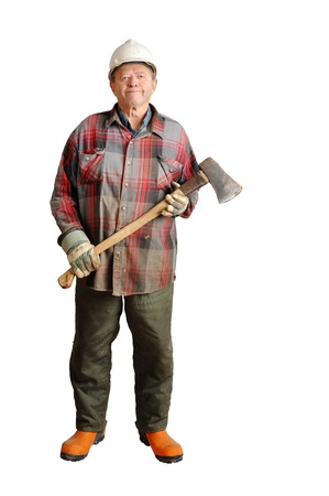 work boots: Full body shot of a real senior lumberjack ready to cut some trees in the forest with hard hat, axe and protective steel-toe boots isolated on white. Stock Photo