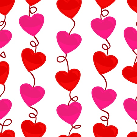 Cute and fun seamless pattern of strings of heart shapes in both red and pink colors, perfect for Valentines day or other love concept