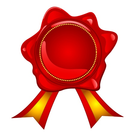 hot announcement: Blank red wax seal with gold ribbon, perfect for reward, prize, sale or other announcement.