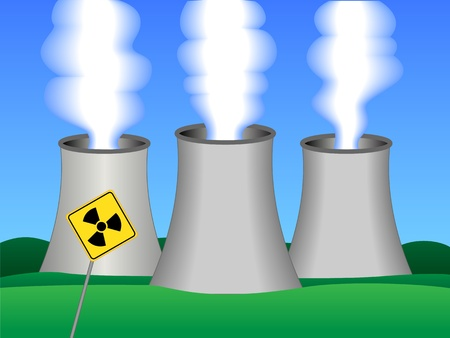 Simple drawing of a nuclear power plant with three active towers and radioactive warning sign in the forefront.