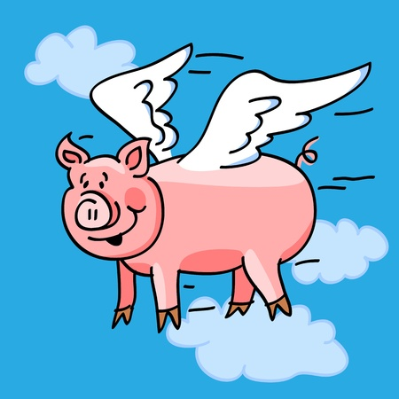Fun cartoon of a flying pig with wings to represent the  Ilustração