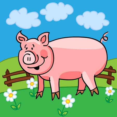 Cute and fun cartoon pig in a green field with flowers and fence. Vector