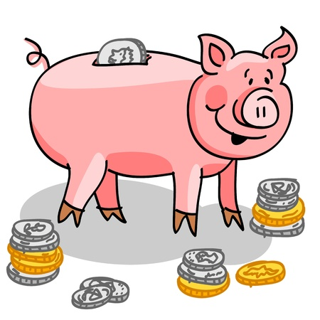 Cute and fun cartoon piggy bank with silver and gold coins.