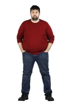 의 전체 바디 샷 카메라를보고 웃 고 큰 사람, 흰색 통해 격리 된 체중 문제와 실제 일반 중년 수염 백인 남자 스톡 콘텐츠