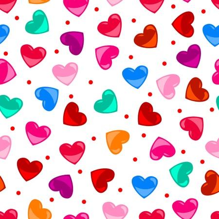 Naadloze: Leuke en leuke naadloze patroon van kleurrijke hart vormen op witte achtergrond, perfect voor Valentijnsdag of een andere liefde concept