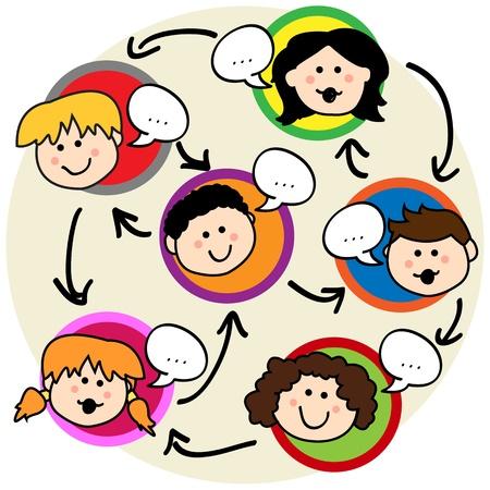 interaccion social: Concepto de red social: divertida caricatura de los ni�os a hablar y se interconectan