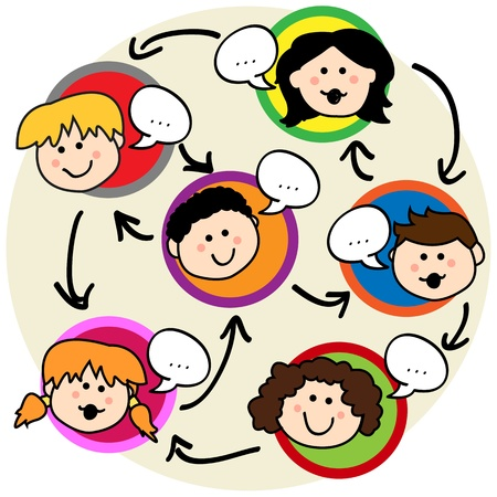 Social network concept: fun cartoon of kids talking and being interconnected