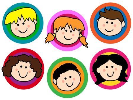 human face: Fun collection of friendly smiling cartoon kids or childrens face over colorful circles