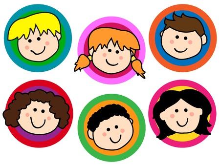 Leuke collectie van vriendelijk lachende cartoon kinderen of kinderen geconfronteerd worden in kleurrijke cirkels