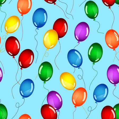 Fun colorful birthday card or background with gifts, balloons and Happy birthday text. Vector