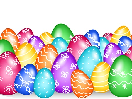 Fun and colorful Easter eggs border with hand painted design over white with shadows.
