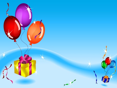 text box: Fun colorful birthday card or background with floating gifts, balloons and ribbons in blue sky with various light effects and copy space. Illustration