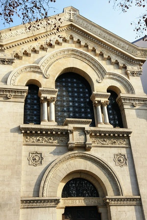 congregation: Beautiful French Reformed church facade with stone architecture and lots of details.