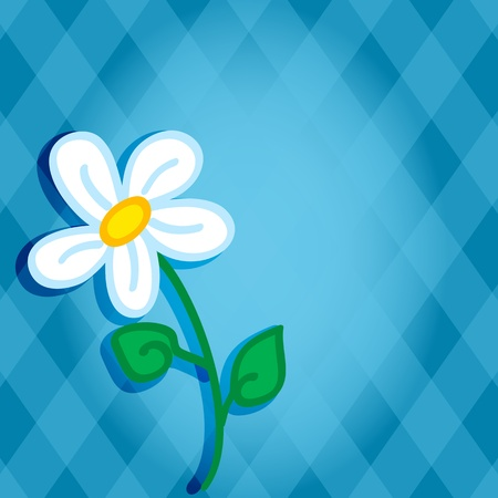 simple: Cute and fun hand drawn daisy flower with shadow over a blue diamond background with copy space in the middle, perfect for a card.
