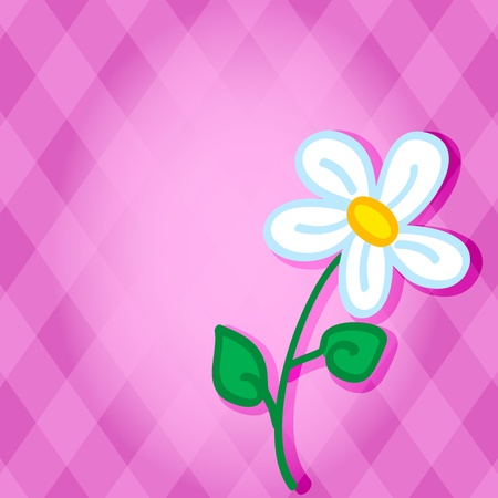 Cute and fun hand drawn daisy flower with shadow over a pink diamond background with copy space in the middle, perfect for a card. Stock Vector - 12490563