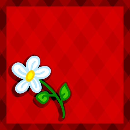 lozenge: Cute and fun hand drawn daisy flower with shadow over a red diamond background with copy space in the middle and border, perfect for a card. Illustration