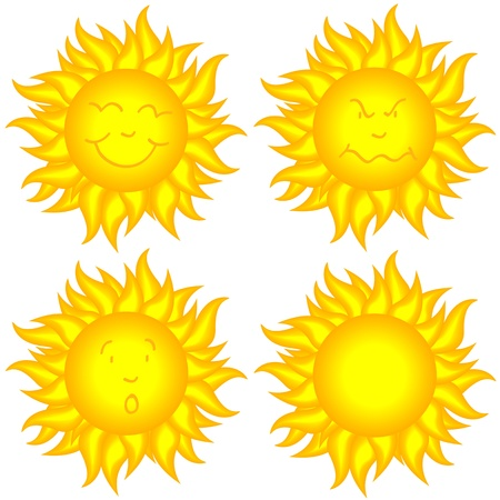 Collection of funny cartoon yellow sun with different faces, happy, mad, surprised and blank.