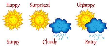Cute and funny weather related cartoon or comic strip with happy sun being covered by mischievous rainy cloud Stock Illustratie