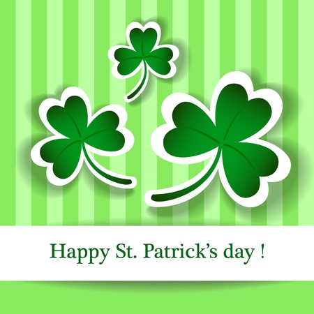 Cute and fun Happy St. Patrick's day wish card, with clover leaves Irish symbol and drop shadow effects. Vector