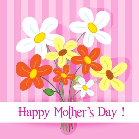 축하 카드 : 귀엽고 재미 손 해피 어머니의 날 배너와 핑크 줄무늬 배경 위에 그림자와 데이지 꽃을 그려.
